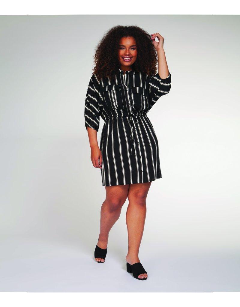 DEX Dex Plus Dress 3/4 Slv Shirt Dress Vertical Stripe