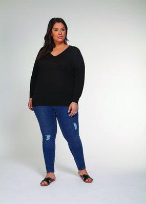 DEX Dex Plus Knit Sweater L/Slv Oversized V Neck P/O