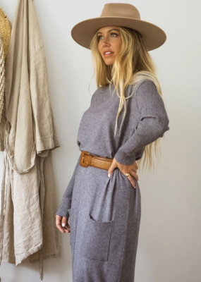 JACKSON ROWE Jackson Rowe Peaceful Sweater Dress Longline Knit W/ Pockets