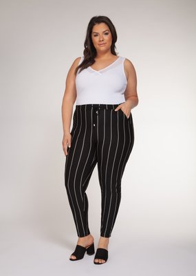 DEX Dex Plus Pants High Waisted Striped W/ Tapered Leg