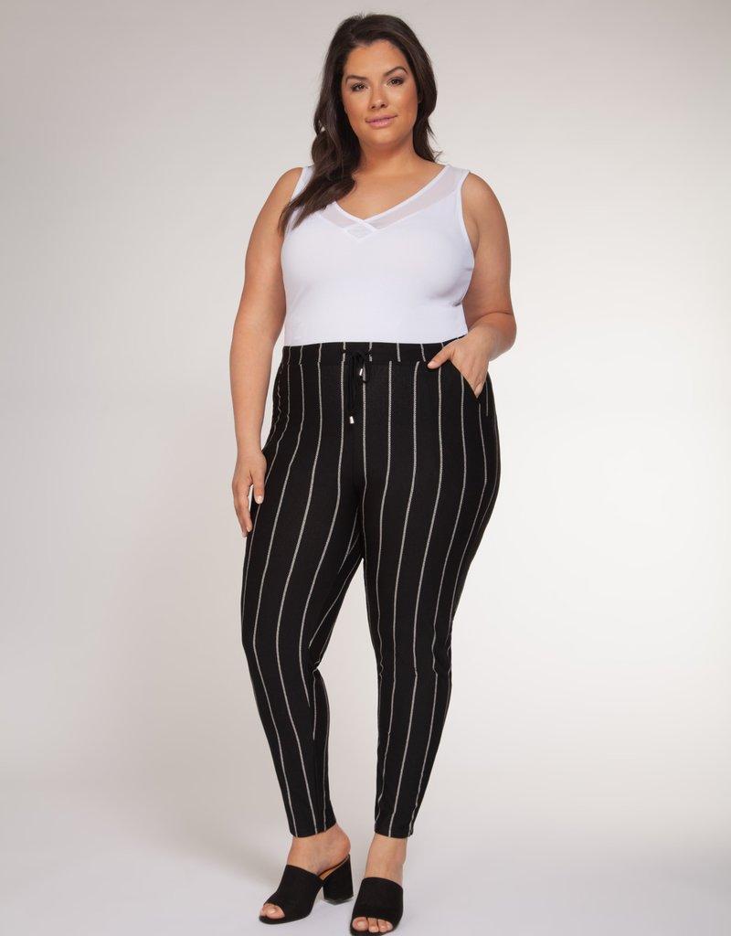 DEX Dex Plus Pants High Waisted Striped W/ Tapered Leg