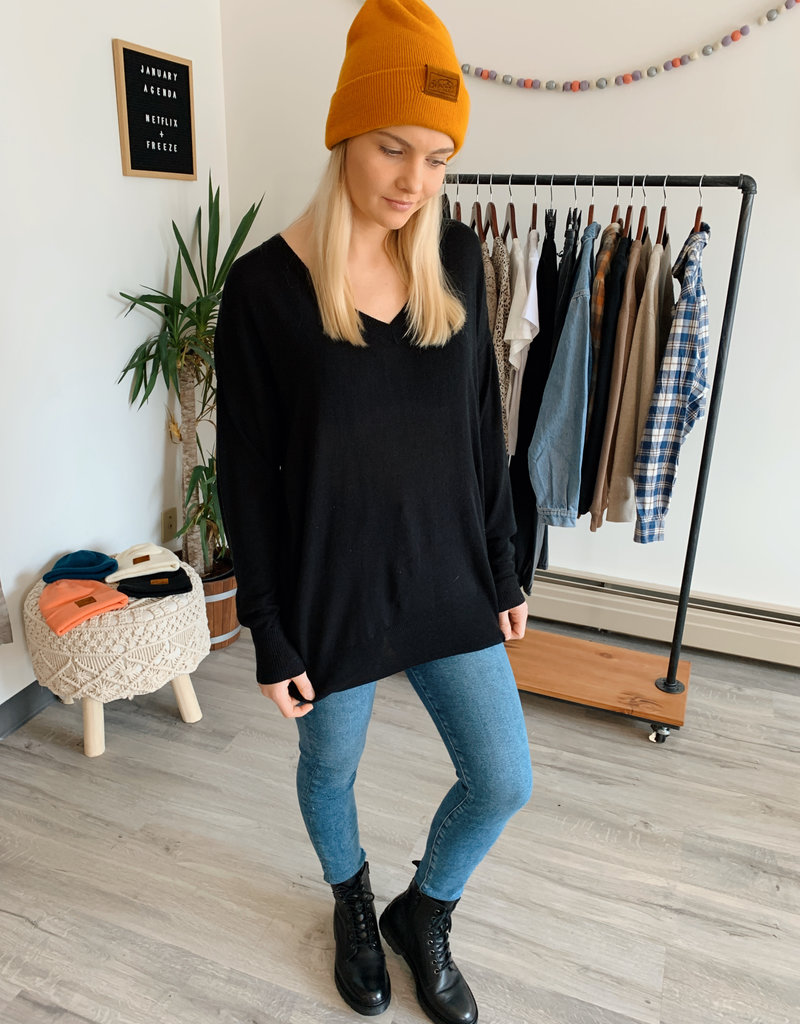 DEX Dex Knit Sweater L/Slv Oversized V Neck P/O