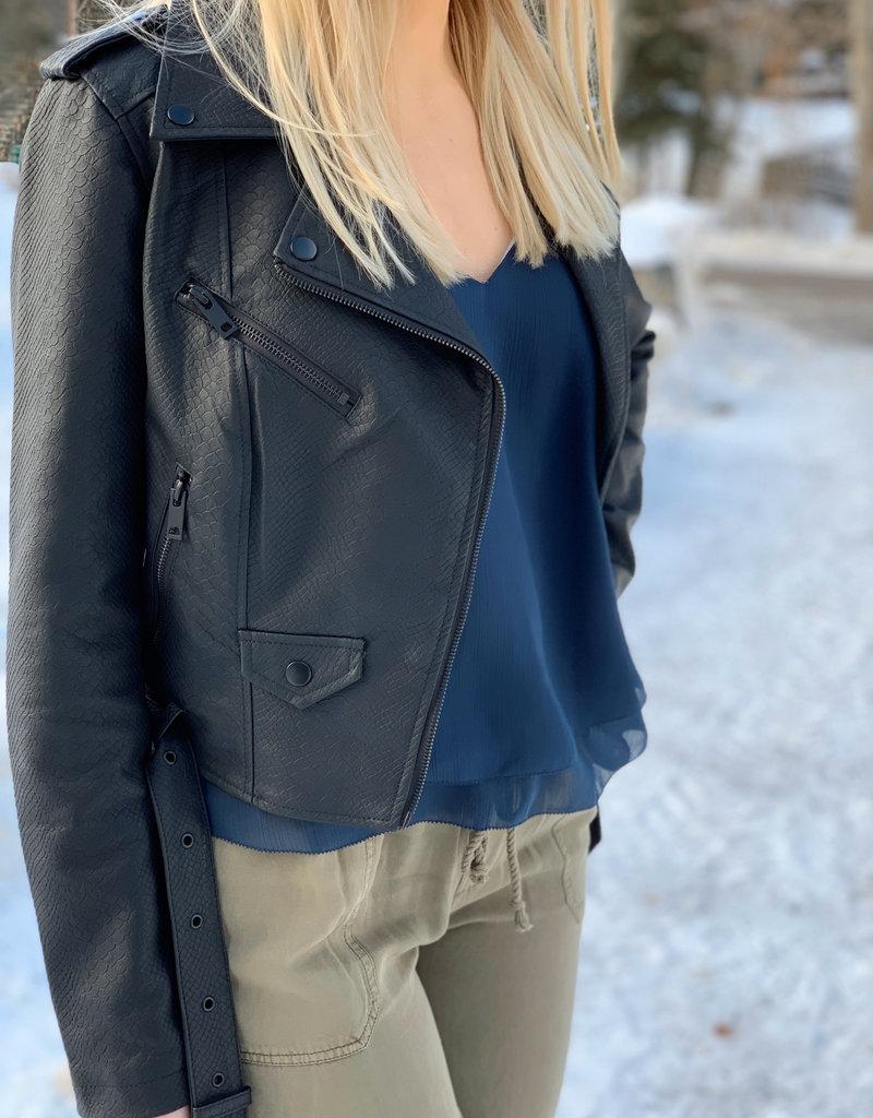 Black Tape Black Tape Jacket Faux-Leather Moto Jacket