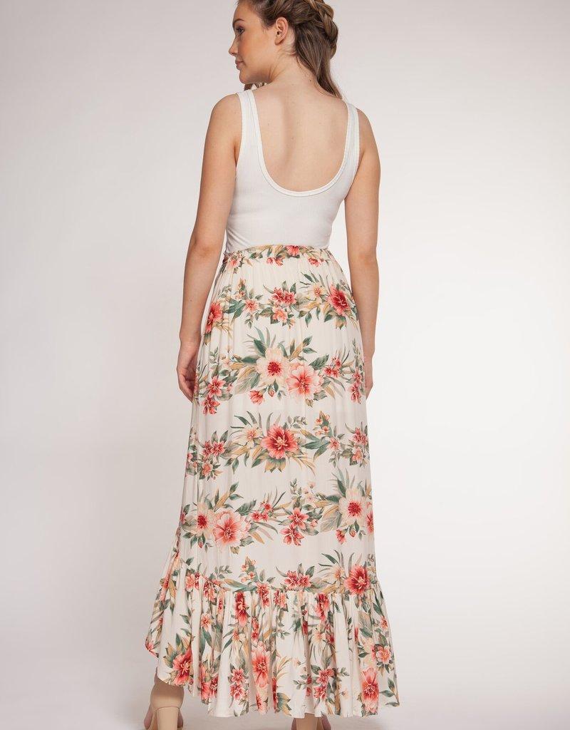 DEX Dex Skirt Floral High Low w/ Ruffle