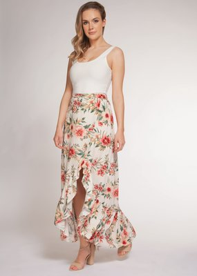DEX Dex Skirt Floral High Low w/ Ruffle