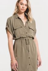 Rag Poets Rag Poets Adria Dress S/Slv Button Up Safari Dress W/ Tie