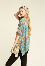 Look by M Look by M Two Tone S/S Floral Kimono