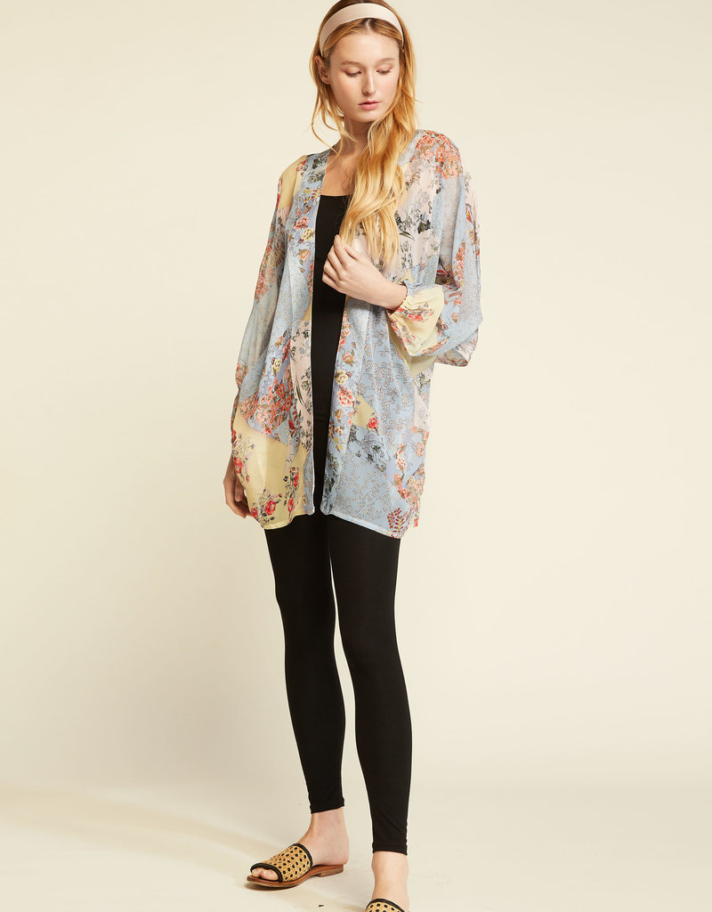Look by M Look by M Floral Sheer Kimono Elastic L/S