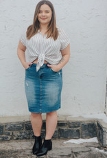DEX Dex Denim Pencil Skirt High waisted Distressed