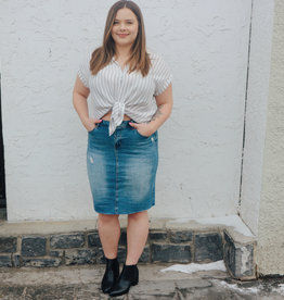 DEX Dex Denim Pencil Skirt High waisted Distressed