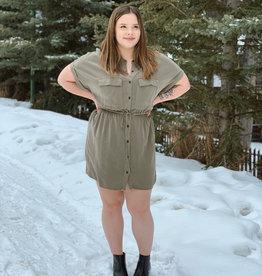 Rag Poets Rag Poets Adria Dress S/Slv Button Up Safari Dress W/ Tie