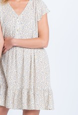 Everly Everly Dress S/Slv Mini Floral w/ Buttons & Ruffle Detail