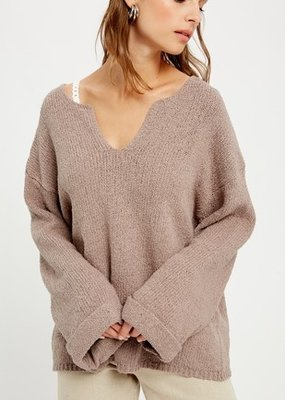 Wishlist Pullover Oversized V-Neck Knit W/ Rolled Cuffs