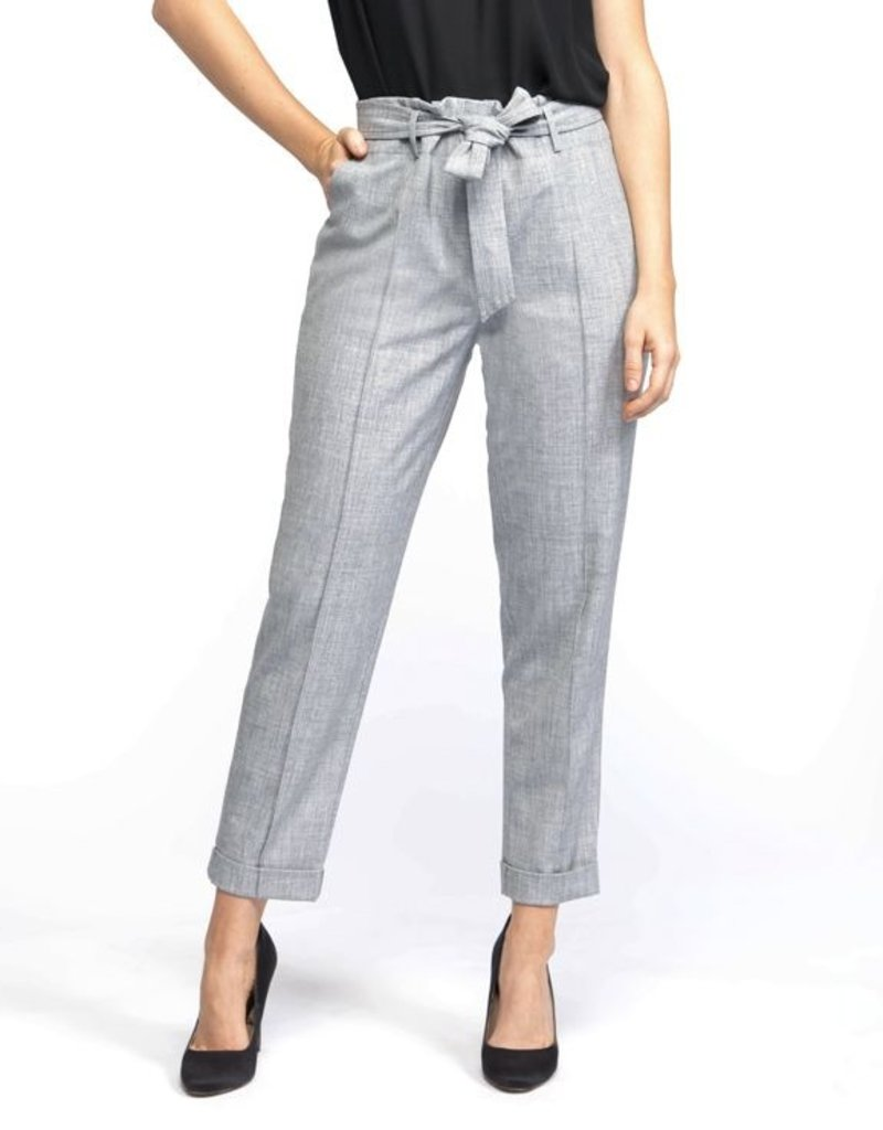 Black Tape Black Tape Tapered Pants W/ Front Seam Detail & Belt