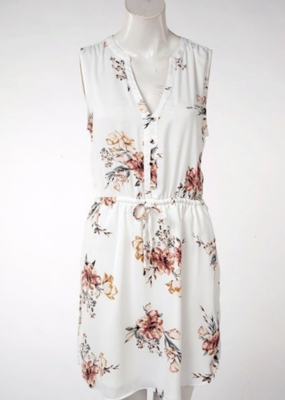 DEX Dex Dress Slv/lss Floral W/ Tie + Buttons
