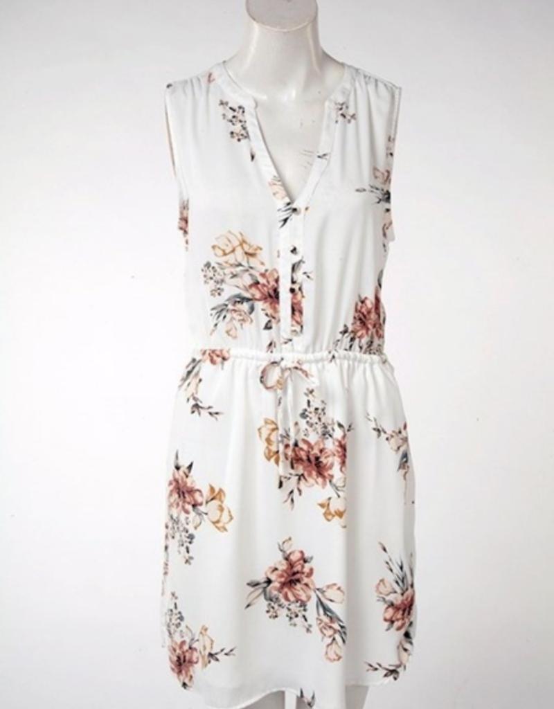 DEX Dex Dress Slv/lss Floral W/ Tie + Buttons