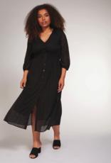 DEX Dex Plus Dress L/Slv Smoked Waist Button Down Midi