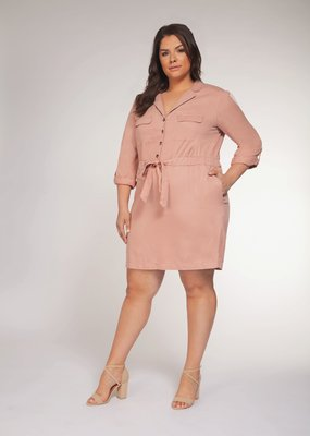 DEX Dex Plus 3/4 Slv Shirt Dress W/ Tie & Buttons
