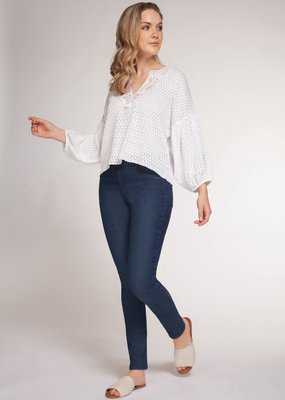DEX Dex 3/4 Puff Slv Crochet Blouse