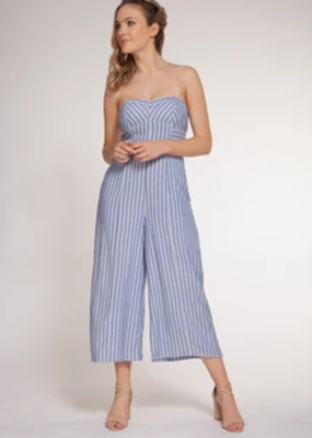 DEX Dex Striped Jumpsuit W/ Removable Straps