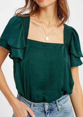 Wishlist Bodysuit Ruffle Slv W/ Square Neck
