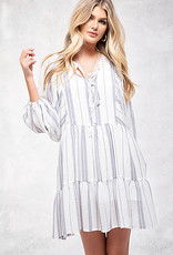 Blu Pepper 3/4 Slv Teired Striped Dress