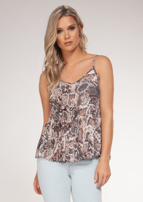 Black Tape Black Tape Tank Double V Snake Print Pleated Cami