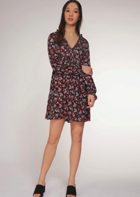 DEX Dex Dress 3/4 Slv V Neck Mock Dress