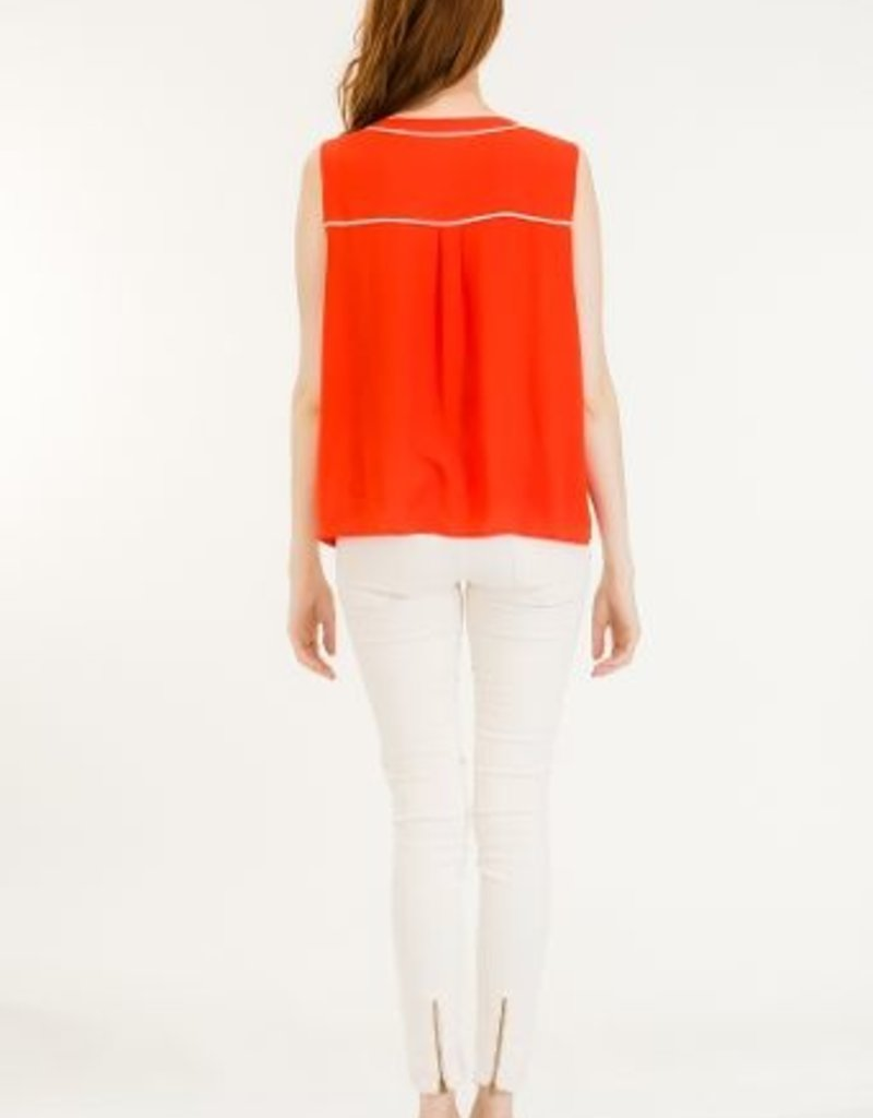 Tulip B Blouse Slv/lss Tank W/ Piping Detail & Buttons