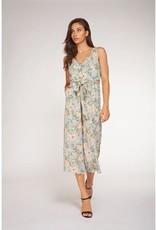 DEX Dex Jumpsuit Slv/Less Floral Button Up W/ Tie