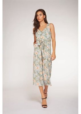 DEX Dex Jumpsuit Slv/Less Floral Button Up W/ Tie