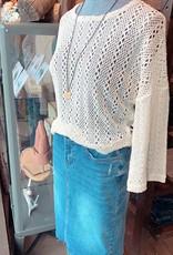 DEX Dex Top L/Slv Crochet Cropped