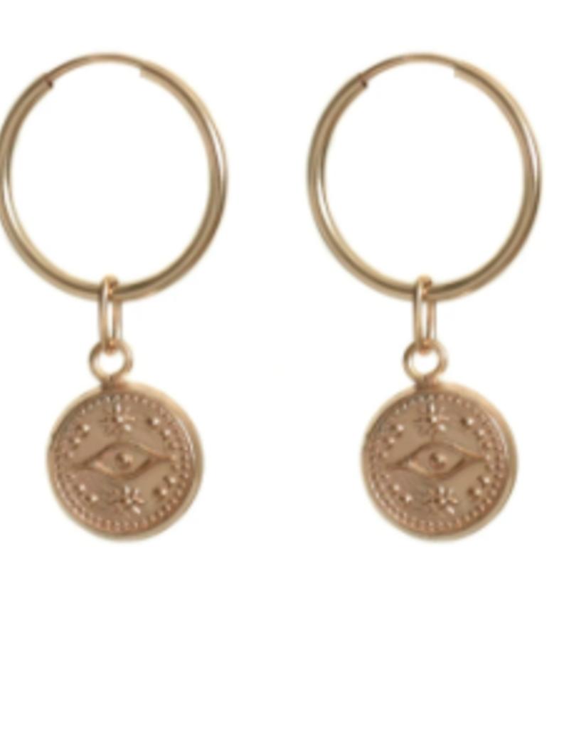 Lisbeth Coden Earrings 16mm Hoops W/ Evil Eye Charm