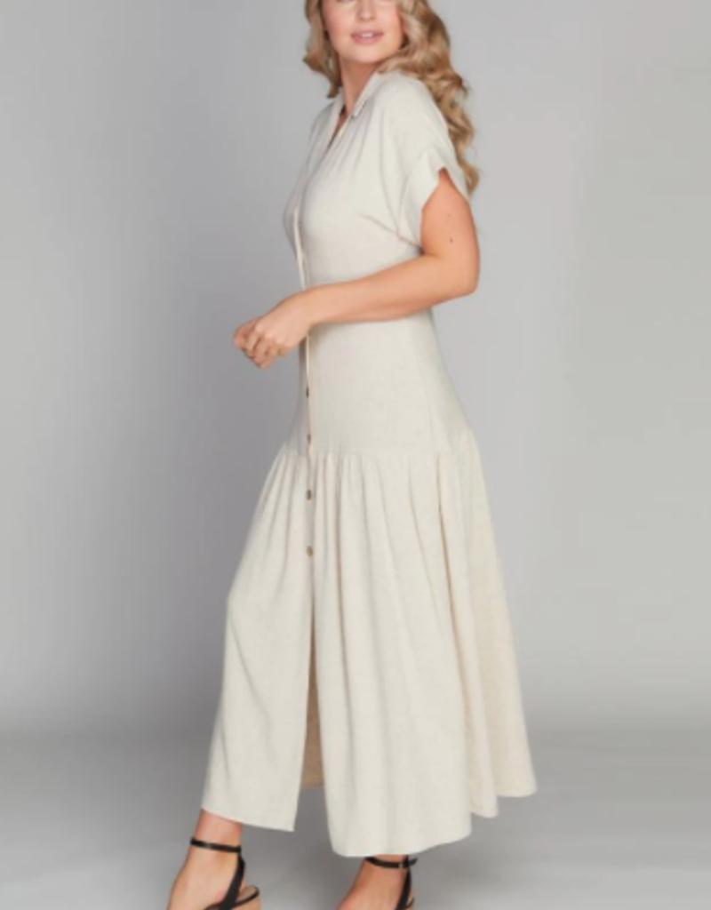 C'EST MOI C'est Moi Dress S/Slv Linen Button Down Maxi