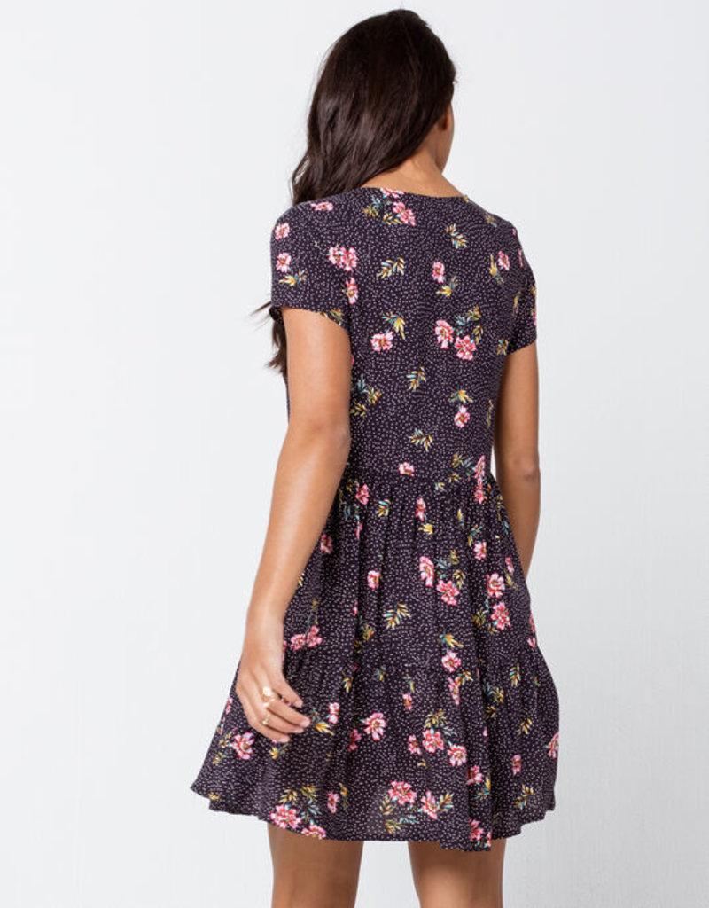Others Follow Others Follow Lily Dress S/Slv V-Neck Mini w/ Buttons & Tie