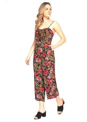 DEX Dex Jumpsuit Vintage Floral Wide-Leg w/ Removable Straps