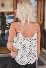 Escape By Blu Pepper Polka Dot Double V Cami W/ Lace Detail