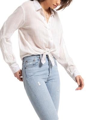 WHITE CROW White Crow Blouse Collared Button Up W/ Tie