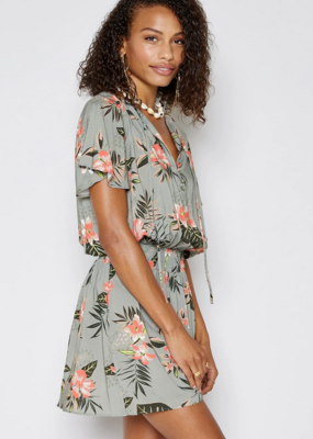 Sadie & Sage Sadie & Sage Jungle Lover Dress S/Slv Mini w/ Elastic Waist Floral Print