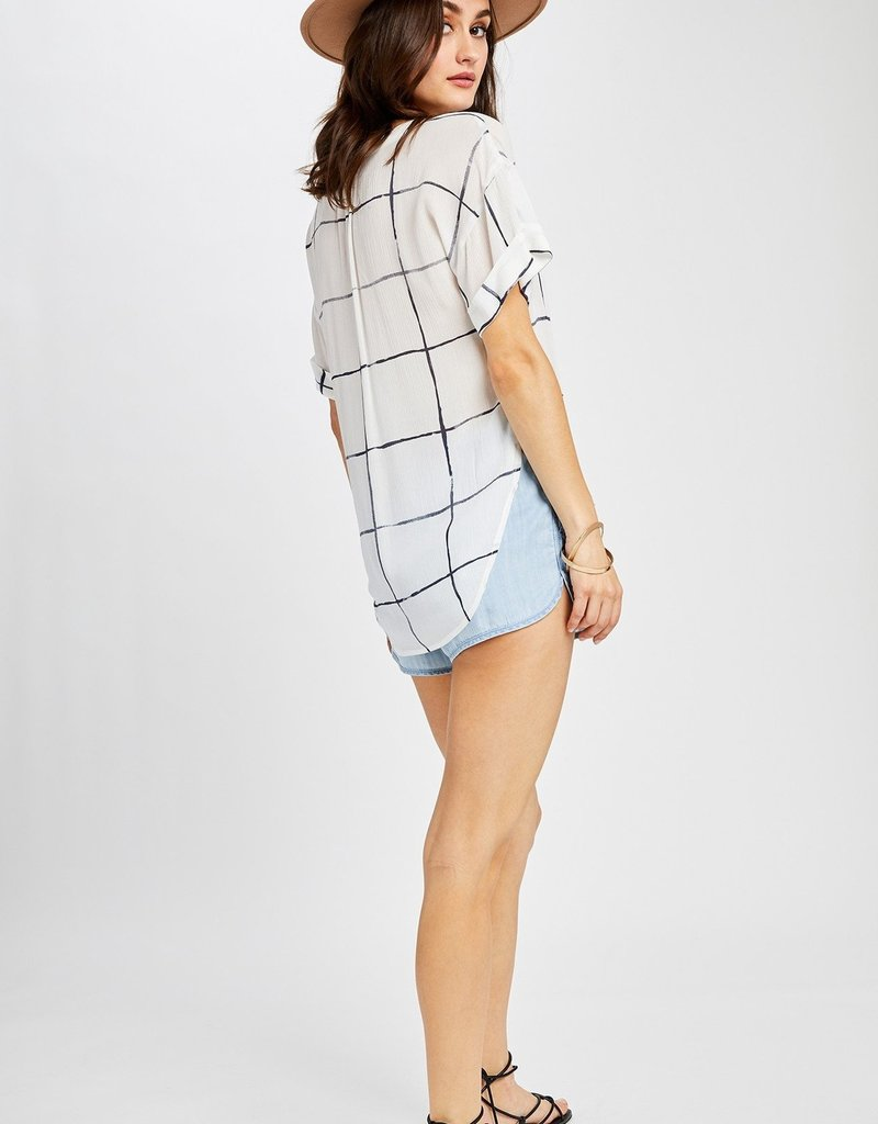 GENTLE FAWN Gentle Fawn Blouse Madison S/Slv V Neck Grid Pattern