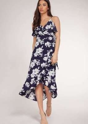 DEX Dex Dress Floral Faux Wrap Midi W/ Ruffles