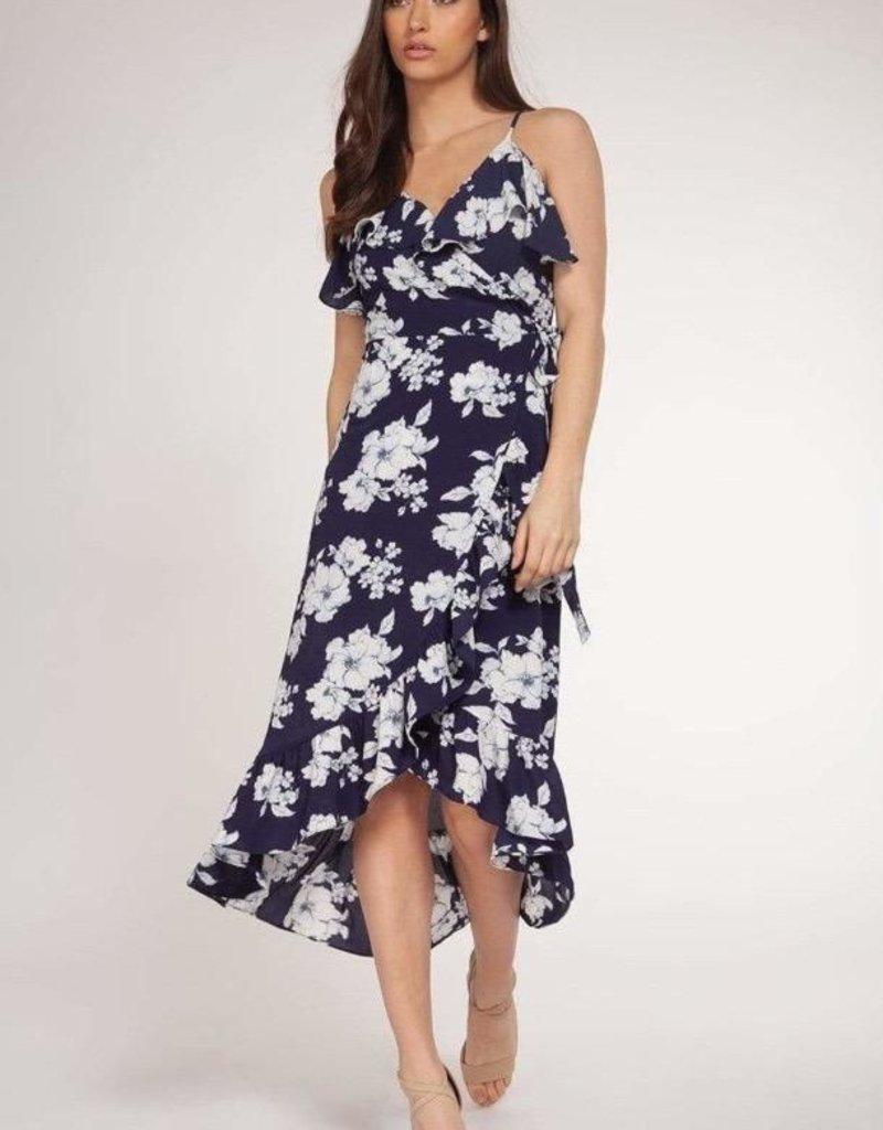 DEX Dex Dress Floral Faux Wrap Midi W/ Ruffles