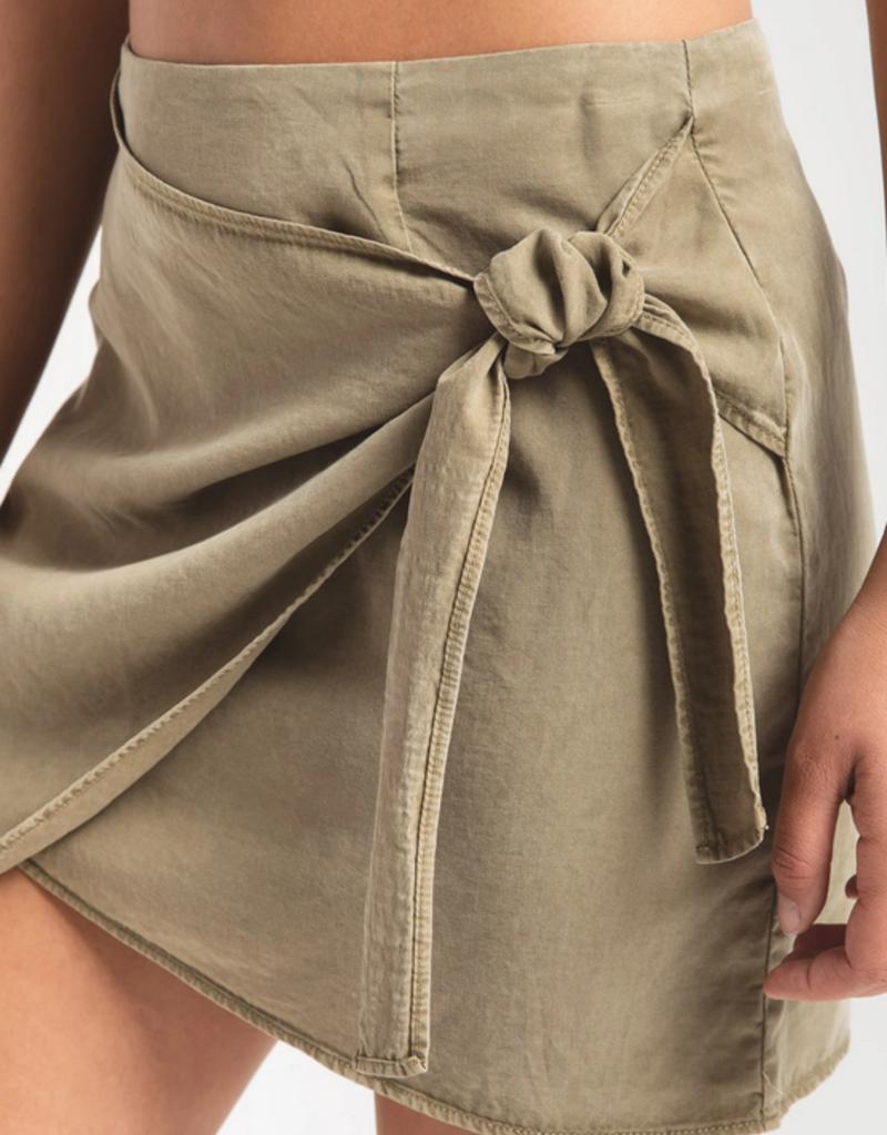 Rag Poets Rag Poets Sumatra Skirt Mini w/ Faux Wrap & Tie