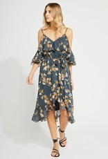 GENTLE FAWN Gentle Fawn Jolene Dress Peak-a-boo Shldr Midi w/ Belt & Ruffle Detail
