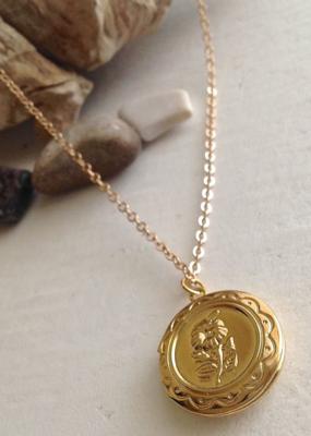 PIKA&BEAR Pika & Bear Necklace 'Fleur' Round Locket