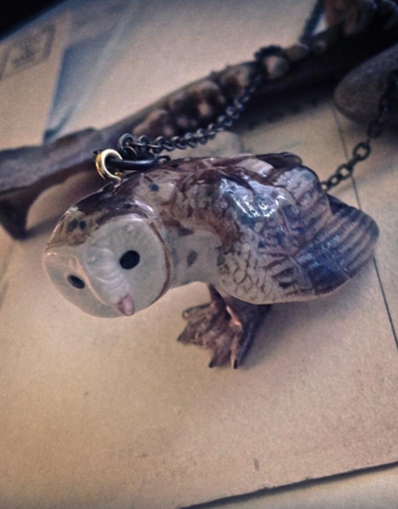 PIKA&BEAR Pika & Bear Necklace 'Socrates' Porcelain Owl Pendant