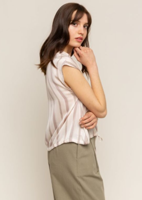 Grade & Gather Grade & Gather Satin Stripe Blouse Slv/less Buttondown with Drawstring Tie F'20