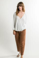 Grade & Gather Grade & Gather Faux Wrap Blouse 3/4 Slv Bilowy F'20