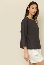 Grade & Gather Grade & Gather Textured Cotton Blouse 3/4 Slv Boxy Boatneck F'20