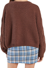 Sadie & Sage Sadie & Sage Azalea Sweater Cropped Cable Knit Crew Neck F'20